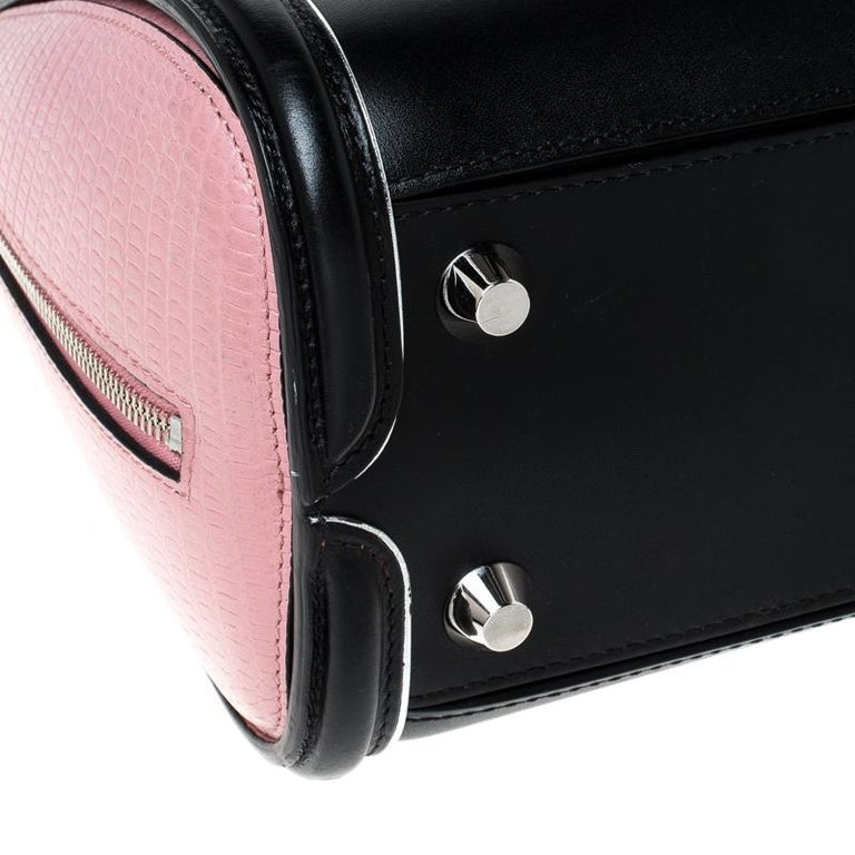 Alexander McQueen Black/Pink Leather Small Heroine Satchel For Sale 2