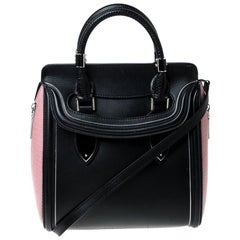 Alexander McQueen Black/Pink Leather Small Heroine Satchel