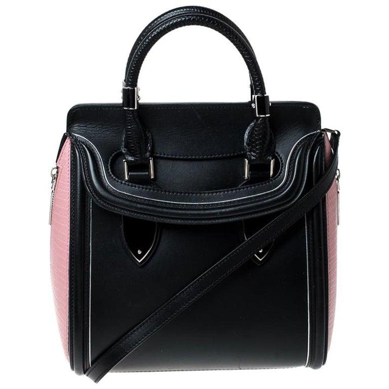 Alexander McQueen Black/Pink Leather Small Heroine Satchel For Sale