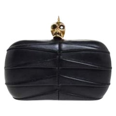Alexander McQueen Black Pleated Leather Skull Lock Clutch