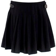 Alexander McQueen Black Pleated Wool Kilt - Estimated M/L