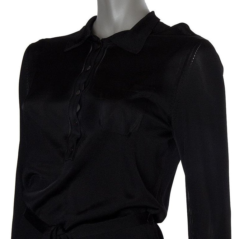 Black ALEXANDER MCQUEEN black rayon SEMI SHEER KNIT BELTED SHIRT Dress L For Sale