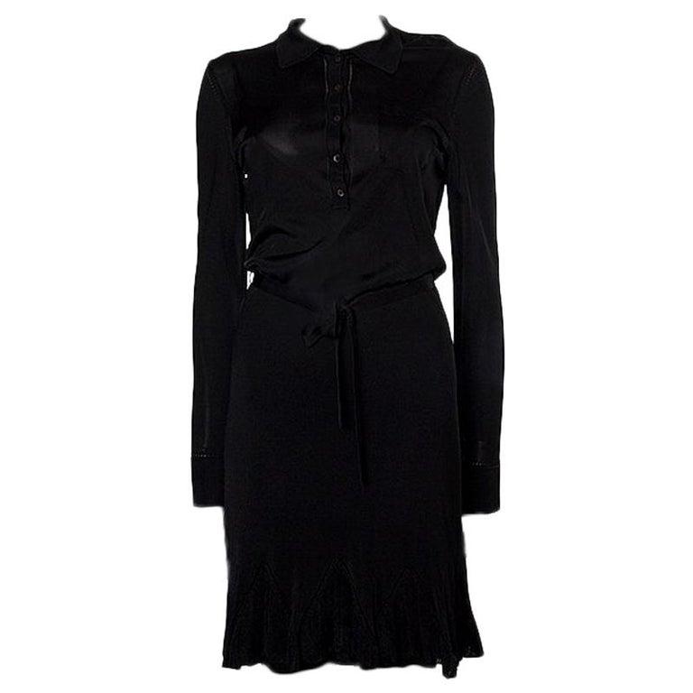 ALEXANDER MCQUEEN black rayon SEMI SHEER KNIT BELTED SHIRT Dress L For Sale