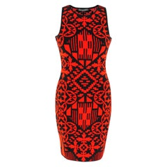 Alexander McQueen Black & Red Jacquard Knit Mini Dress XS