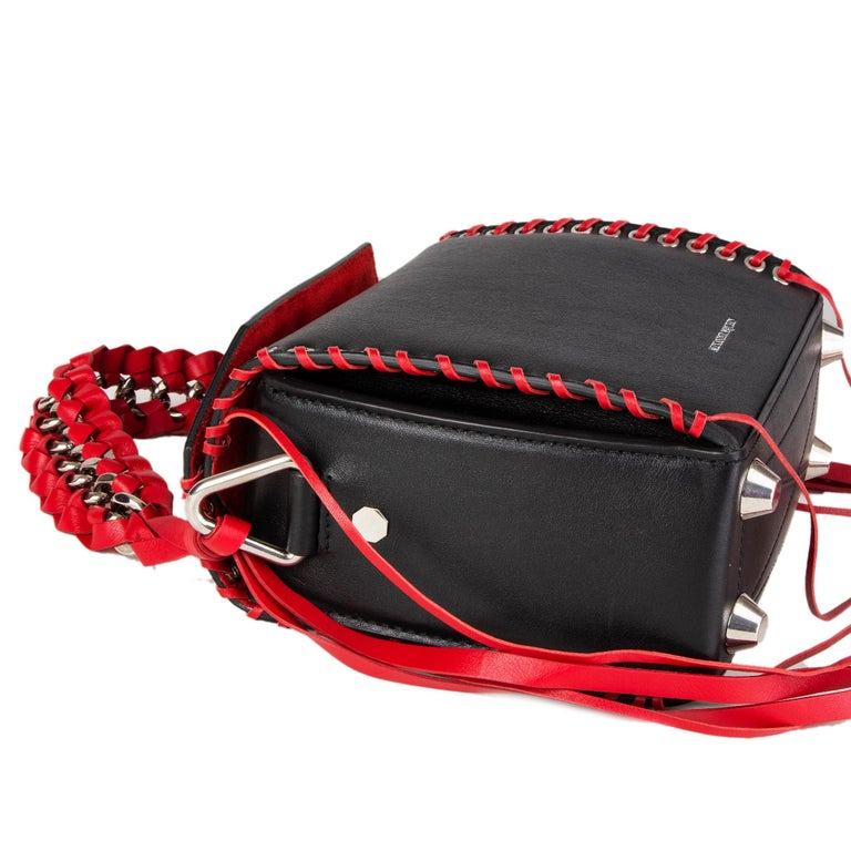 Women's ALEXANDER MCQUEEN black & red leather BOX 19 WHIPSTITCH Bag For Sale