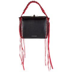 ALEXANDER MCQUEEN black & red leather BOX 19 WHIPSTITCH Bag