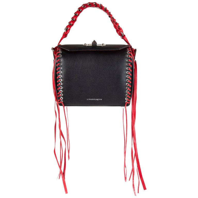 ALEXANDER MCQUEEN black & red leather BOX 19 WHIPSTITCH Bag For Sale