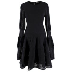 Alexander McQueen Black Ribbed Silk Dress - M