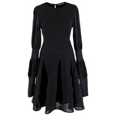Alexander McQueen Black Ribbed Silk Dress - Size Medium