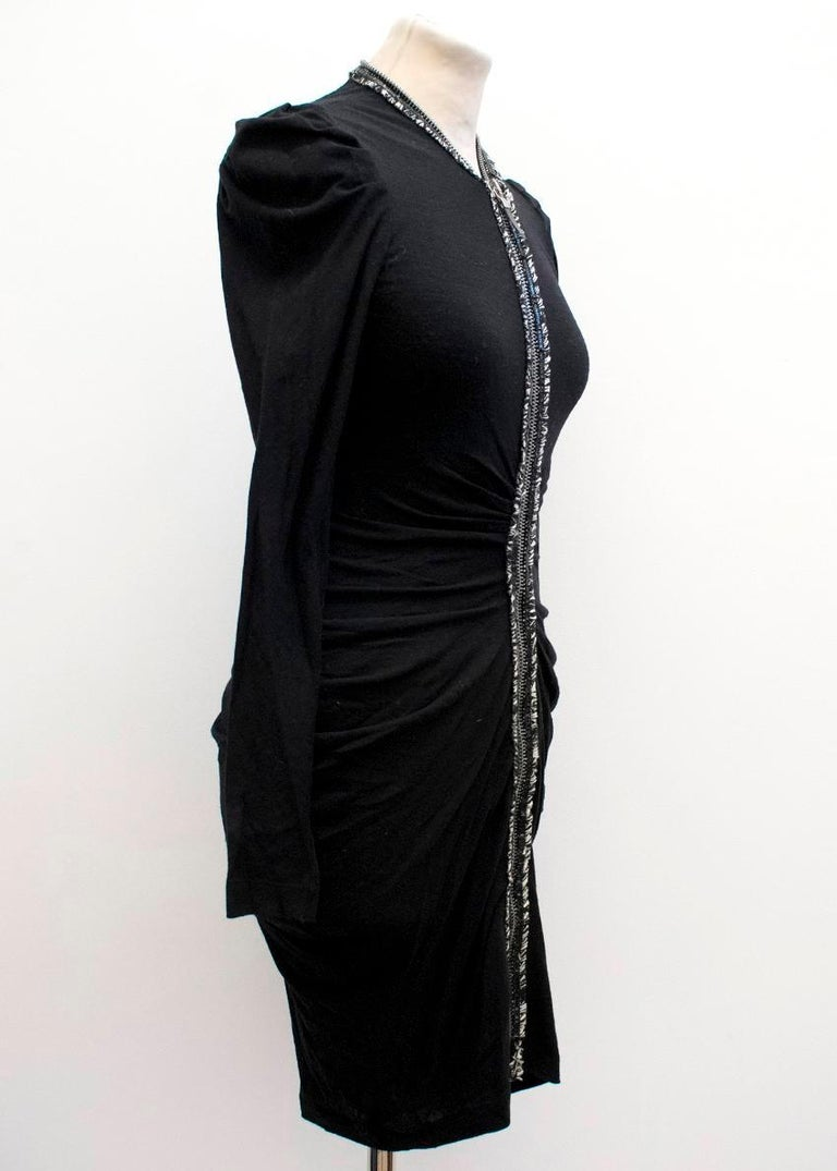 Alexander McQueen Black Ruched Zip Dress US 2 In Excellent Condition For Sale In London, GB