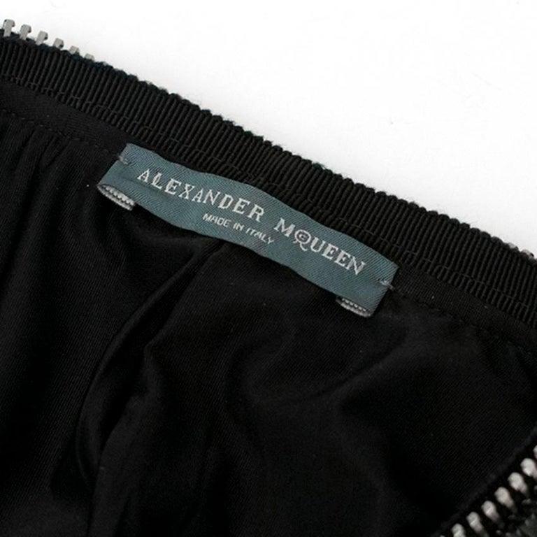 Alexander McQueen Black Ruched Zip Dress US 2 For Sale 2