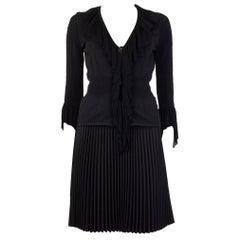 ALEXANDER MCQUEEN black RUFFLE COLLAR Cardigan Sweater L