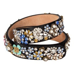 ALEXANDER MCQUEEN black satin EMBELLISHED Belt 70