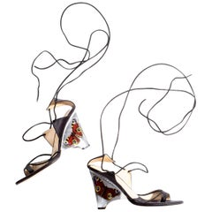 Alexander McQueen black satin wedge sandals with butterfly encased heel, ss 2003