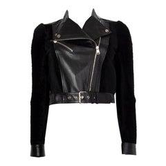 Alexander McQueen black SHEARLIG & LEATHER CROPPED BIKER Jacket 40