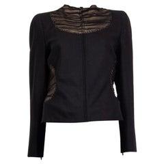 ALEXANDER MCQUEEN black SHEER PANEL ZIP FRONT Jacket 44