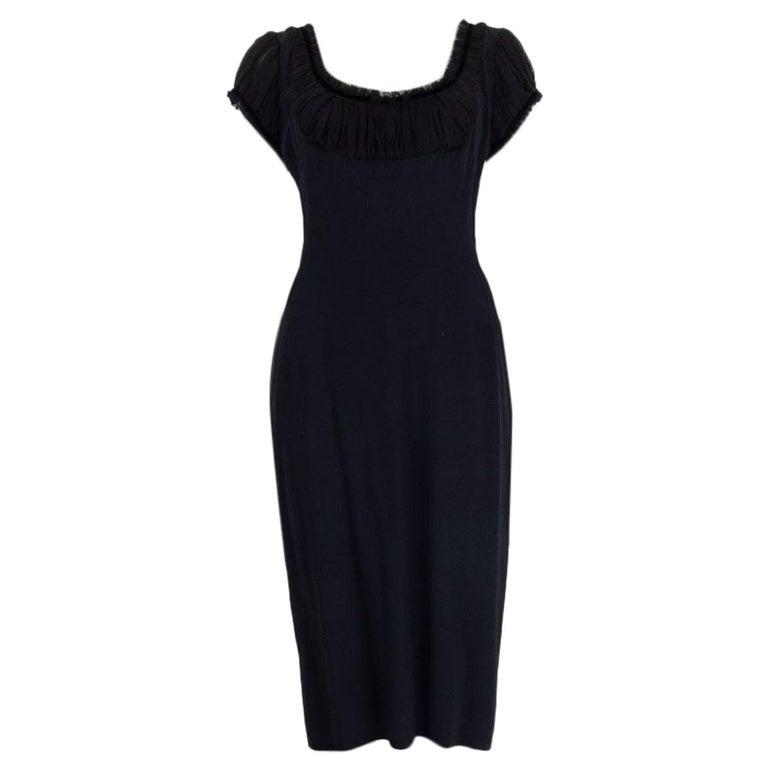ALEXANDER MCQUEEN black silk GATHERED SHORT SLEEVE Dress 44 L For Sale