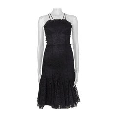 ALEXANDER MCQUEEN black silk LACE BUSTIER Cocktail Dress 40