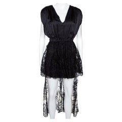 Alexander McQueen Black Silk Lace Trim Asymmetrical Top