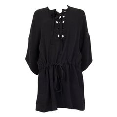 ALEXANDER MCQUEEN black silk LACE-UP DROP WAIST MINI Dress 36