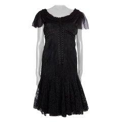 ALEXANDER MCQUEEN black silk RUFFLED LACE Cocktail Dress 42