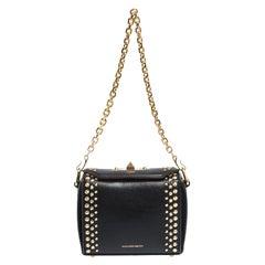 Alexander McQueen Black Studded Leather Box 16 Shoulder Bag