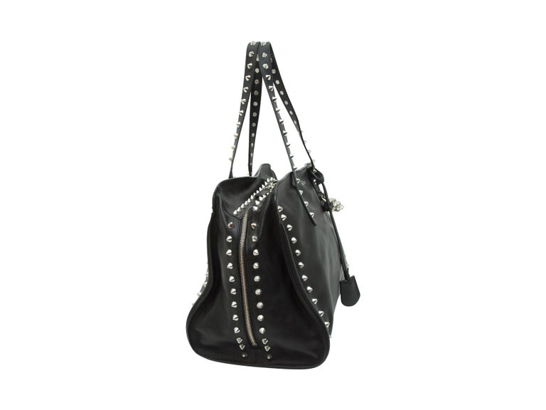 Women's Alexander McQueen Black Studded Leather Tote Bag For Sale