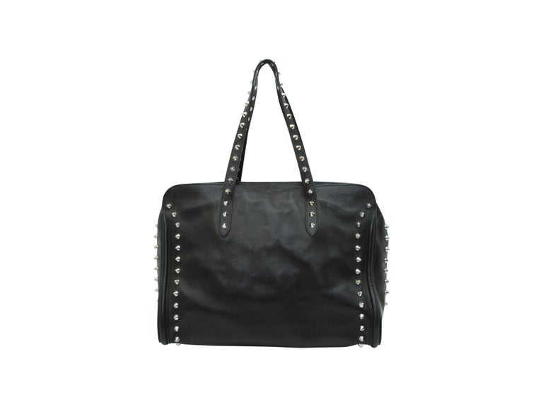 Alexander McQueen Black Studded Leather Tote Bag For Sale 2