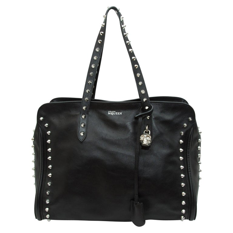 Alexander McQueen Black Studded Leather Tote Bag For Sale
