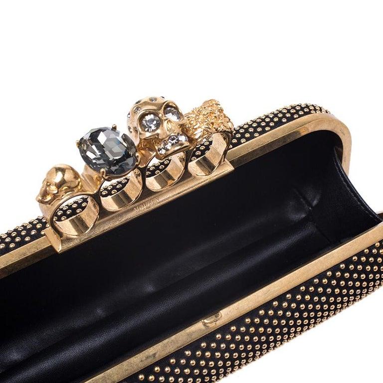 Alexander McQueen Black Studded Suede Skull Knuckle Box Clutch For Sale 6