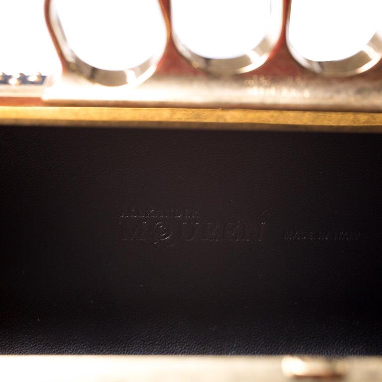 Alexander McQueen Black Studded Suede Skull Knuckle Box Clutch For Sale 4