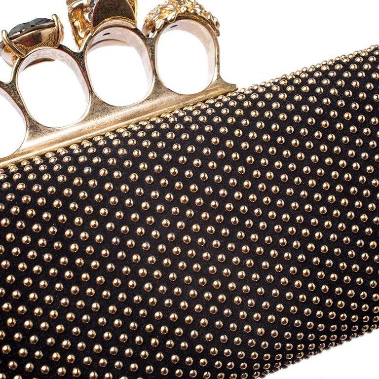 Alexander McQueen Black Studded Suede Skull Knuckle Box Clutch For Sale 5