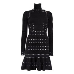 ALEXANDER MCQUEEN black STUDDED Turtleneck Dress XS