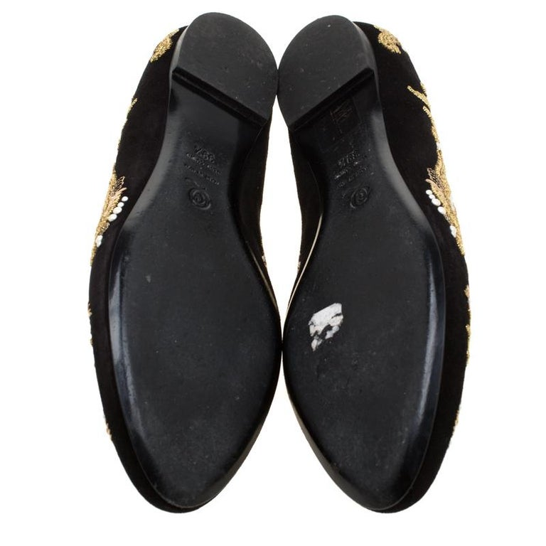 Women's Alexander McQueen Black Suede Embroidered Smoking Slippers Size 39.5 For Sale
