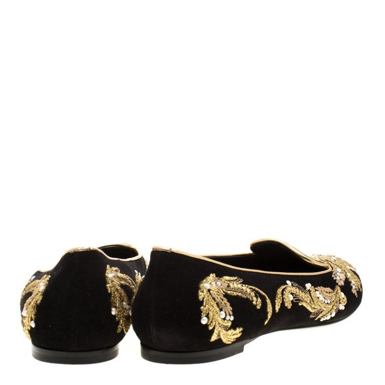 Alexander McQueen Black Suede Embroidered Smoking Slippers Size 39.5 For Sale 1