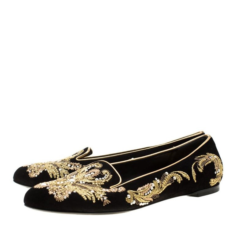 Alexander McQueen Black Suede Embroidered Smoking Slippers Size 39.5 For Sale 3