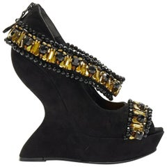 ALEXANDER MCQUEEN black suede gold jewel strap peep toe curved heel wedge EU37.5