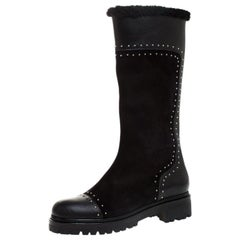 Alexander McQueen Black Suede Leather Studded Mid Calf Boots Size 39