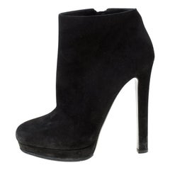 Alexander McQueen Black Suede Platform Ankle Boots Size 38.5