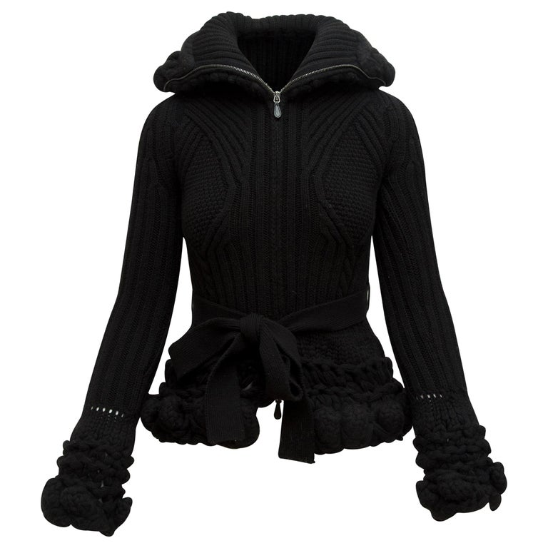 Alexander McQueen Black Turtleneck Knit Jacket