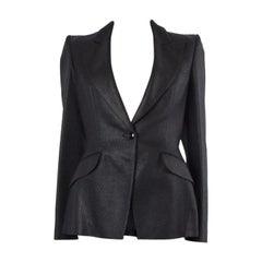 ALEXANDER MCQUEEN black TWEED SINGLE BUTTON Blazer Jacket 44