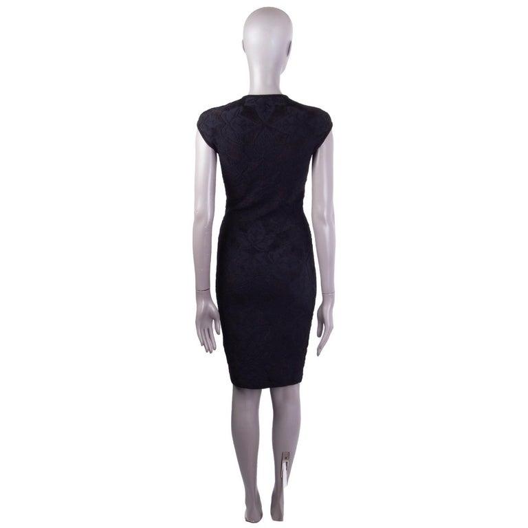 Black ALEXANDER MCQUEEN black VELVET JACQUARD BODYCON Dress S For Sale