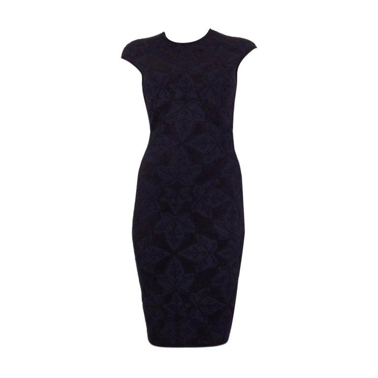 ALEXANDER MCQUEEN black VELVET JACQUARD BODYCON Dress S For Sale