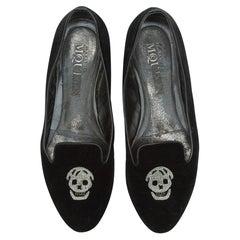 Alexander McQueen Black Velvet Skull Loafers