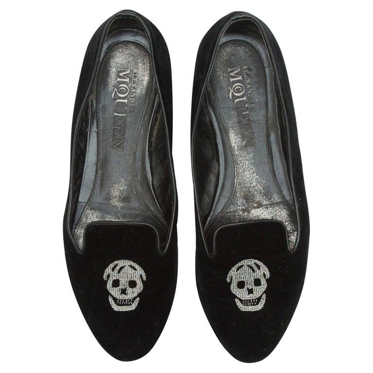 Alexander McQueen Black Velvet Skull Loafers For Sale