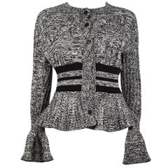 ALEXANDER MCQUEEN black white CABLE KNIT PEPLUM Cardigan Sweater S