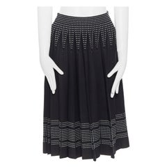 ALEXANDER MCQUEEN black white dot jacquard knit pleated flare midi skirt IT42 M