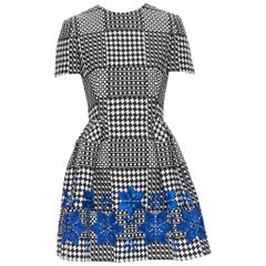 ALEXANDER MCQUEEN black white geometric blue floral embroidery fit flare dress S