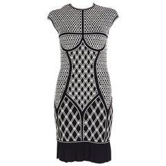 ALEXANDER MCQUEEN black & white JACQUARD KNIT Dress M