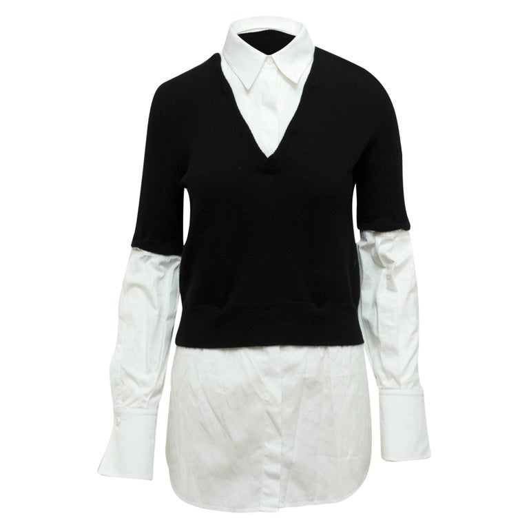 Alexander McQueen Black & White Layered Sweater For Sale